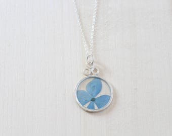 Blue Hydrangea Silver Circle Pressed Flower Necklace