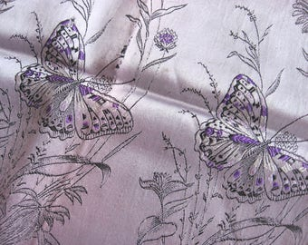 French Butterfly Wildflowers Scarf. Luxurious, elegant violet satin with deep purple accents & black detail. Perfect gift for one you love