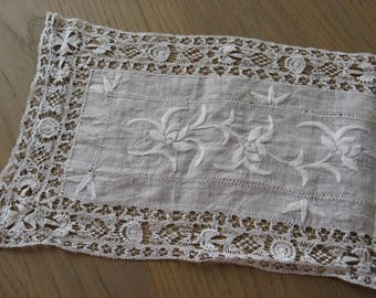 French Delicate Lace Runner. Exquisite Antique linen, hand made, embroidered long table center piece. Quality fine bobbin thread work