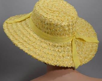 Wide Brim Vintage 60s Sunshine Yellow Summer Hat