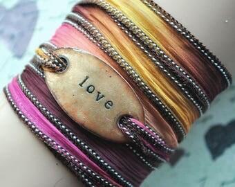 Handdyed silk wrap bracelet,  silk ribbon bracelet ,boho wrap,LOVE ,enameled copper,yoga,ruban de soie,Seidenband#186