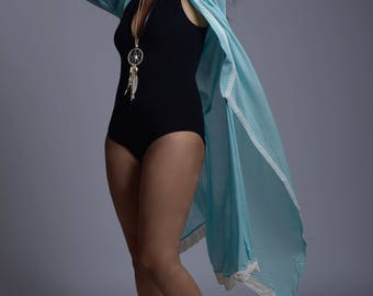 Elegant flowy Pastel Blue Mulmul Long Shrug with lace