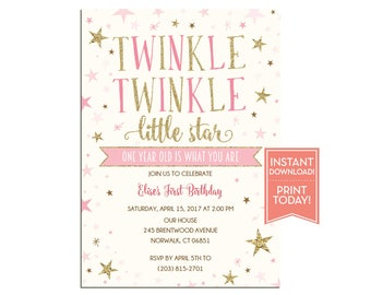 Twinkle Twinkle Little Star Birthday Party Invitation Template - Girls First Birthday Printable - Editable Instant Download - LR1076
