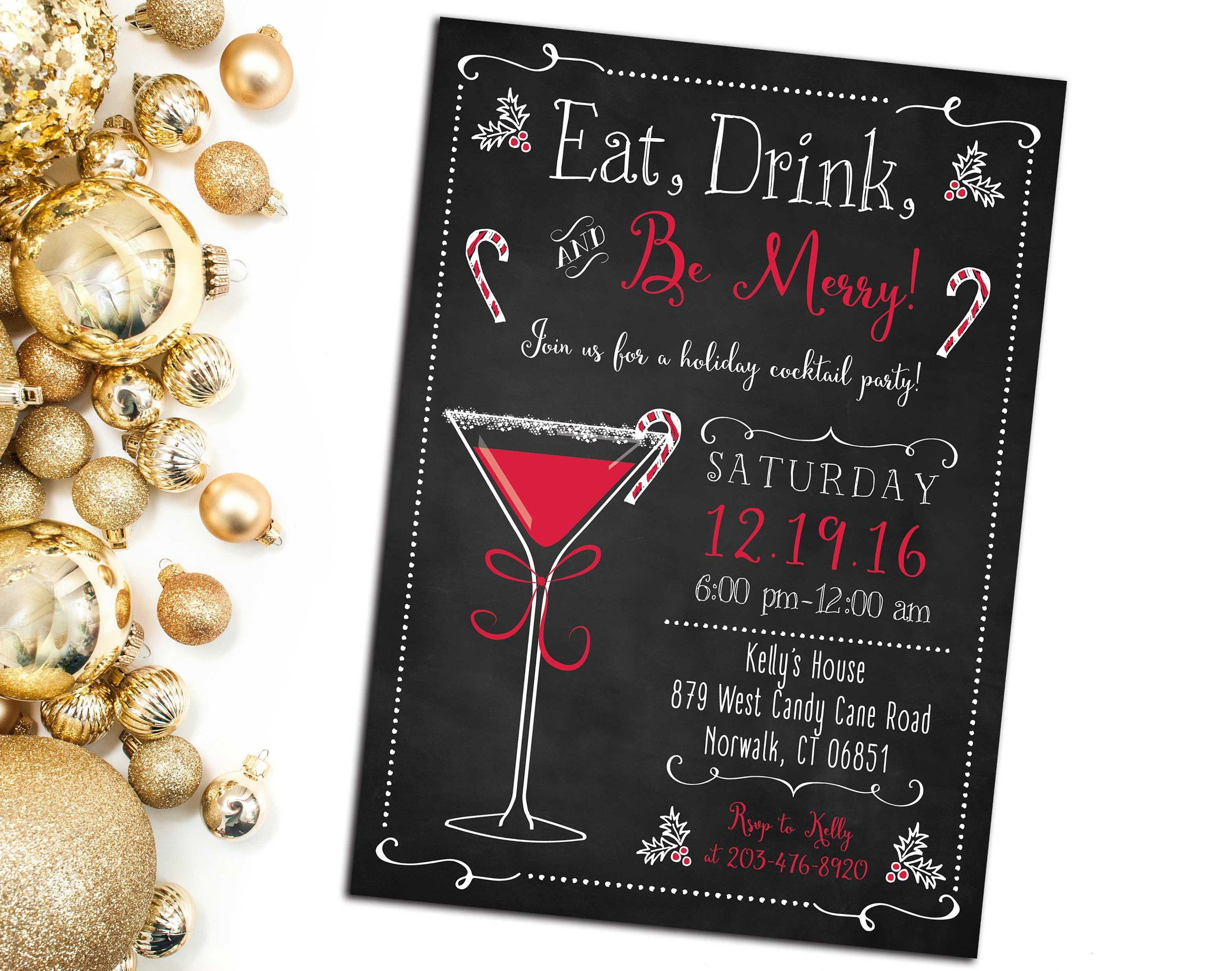 Christmas party invitations eat drink and be merry holiday request a custom order and have something made just for you kristyandbryce Gallery