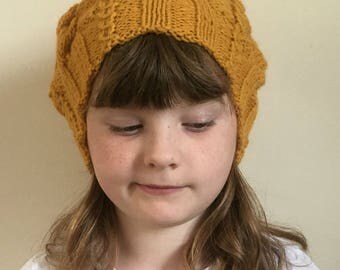 Hand Knitted Girls Slouch-Woollen Hat-Cable Pattern Hat-Girls Fashion Hat-Winter Hat-Accessories-Girl's Knitted Hat-Christmas Gift For Girl