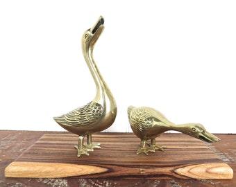 Pair Of Brass Geese Figurines, Brass Goose Sculpture, Set Of 2 Rustic Farmhouse Brass Geese, Brass Birds