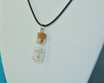 Herkimer Diamond Natural Gemstone Glass Vial Pendant Necklace