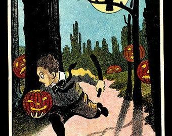 Running Boy with JOL, Owl Halloween 1908 Postcard