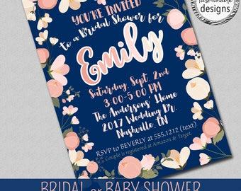 Shower Invitation, Blush & Navy, Bridal Shower, Baby Shower
