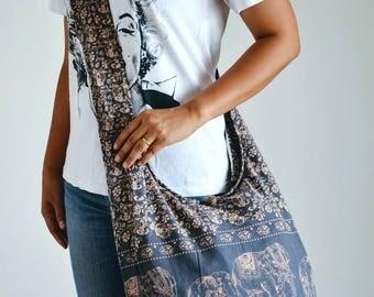 Flozen Gray Cotton Bag Handbags Elephant Bag Hippie Hobo Bag Boho Bag Shoulder Bag Sling Bag Messenger Bag Crossbody Purse