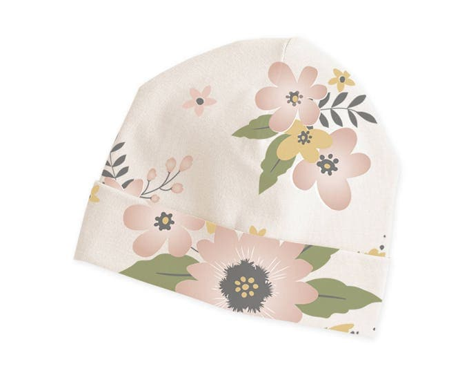 Newborn Baby Girl Floral Hat, Baby Girl Pink Hat, Infant Baby Hat for Girls, Baby Girl Flower Beanies, Pink Floral, Tesababe CP630MF001000