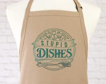 Dish Washing Apron - Kitchen Apron - Funny Apron - Cute Apron - Womens Apron - Mens Apron - Gift - Embroidered Apron - Fun Apron - Fun Apron