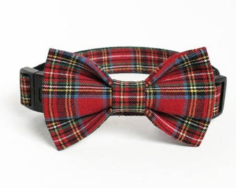 Christmas Plaid Dog Collar Bow Tie set, Christmas