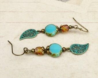 Aqua Earrings, Aquamarine Earrings, Topaz Earrings, Brown Earrings, Czech Glass Beads, Patina Earrings, Leaf Earrings, Antique Gold Earrings