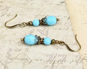Blue Earrings, Sky Blue Earrings, Light Blue Earrings, Baby Blue Earrings, Czech Glass Beads, Dainty Blue Earrings, Dainty Earrings, Gifts