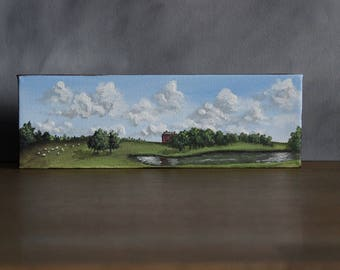 Panoramic Landscape Painting, Farm Scene, Cloud Painting, Rustic Home Decor, Country Landscape, Farmhouse Decor, Panorama Landscape