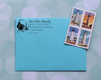 Pug Address Stamp, Dog Address Stamp, Pug Dog Stamp, Address Stamp, Self Inking Address Stamp Family Address Stamp 0055