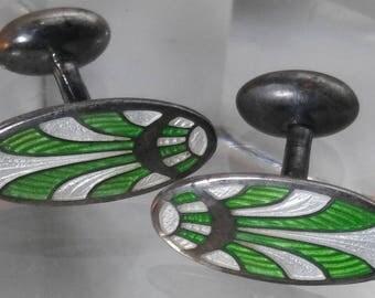 Sterling Silver Guilloche Enamel Art Deco Green White Cufflinks
