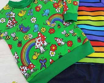 Rainbow Garden jumper, Spring kids sweater, rainbow print, toadstools, easter top, Gender free,  toddler jumper Kids jumper upto 6y