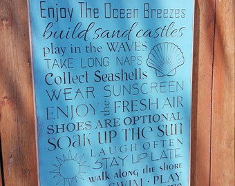 """Custom Carved Wooden Sign - """"BEACH HOUSE - RULES"""""""