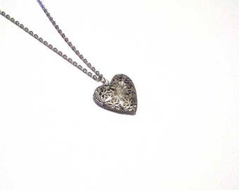 Heart necklace,  locket necklace, silver heart photo locket, pendant necklace,  gift for her,  bridesmaid gifts