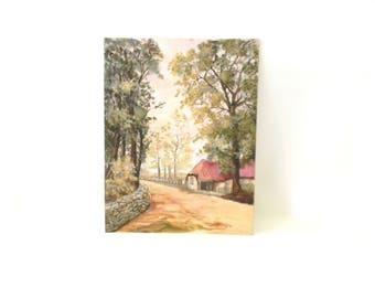 Vintage Scenic Landscape Painting /  Original Art
