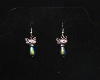 Cat Earrings/ Beaded Cat Earrings/ Cat Dangle Earrings
