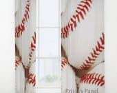 Baseball Curtain-Window Curtain-Sports Decor-Baseball Bedroom Decor-Sheer Curtain-Privacy Curtain-Single Panel Curtain-Rod Pocket Curtain