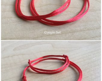 Set of 2 Kabbalah Bracelets. Red Satin Bracelets. Mother Baby Bracelets. Couple Bracelets. Adjustable. Evil Eye. Protection. String of Fate.