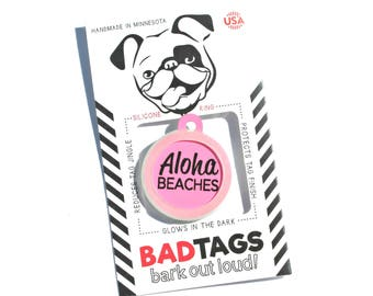 Summer Dog Collar Tags for Dogs - Aloha Beaches - Add your Info to Backside