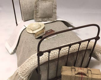 Miniature Dollhouse Duvet Bedding Set - Natural Cotton/Linen Blend - Twin Size