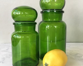 Vintage Glass Apothecary Jars, Made in Belgium, set of 2 | green glass jar, glass storage canisters, bathroom storage, kitchen organization