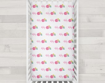 Personalized Crib Sheet - Spring Floral