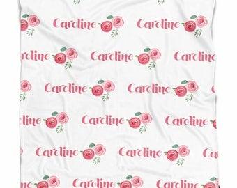 Baby blanket Roses- Baby blanket personalized - Baby girl - Baby shower gift - Name blanket - Newborn gift - Custom blanket