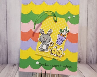 Handmade Easter Greeting Card: Bunny & Chicks