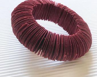 Single bangle bracelet dark red, burgundi, paper jewelry, paper, gift for her