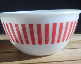 Vintage BARCODE Red Stripes Milk Glass Mixing Bowl