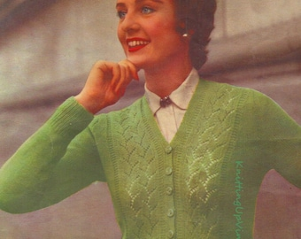 """Vintage 1940s 1950s Knitting Pattern Womens Lacy Panel Cardigan  36"""" - 40""""   3 ply pdf"""