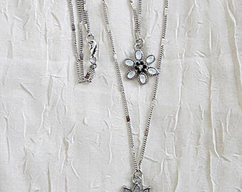 Layered Flowers Necklace, Multi-Strand Flowers Necklace, Long Floral Necklace, Two Layers Flower Necklace, Silver Layered Floral Necklace