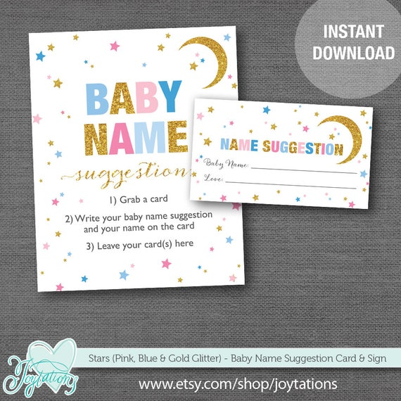 stars baby name suggestion card and sign pink blue and gold glitter