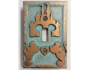 Mickey & Minnie Disney Castle  - Light Switch Cover
