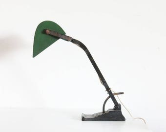Table Lamp Vienna 1920s Enamel Workshop Astral Made in Austria Grüner Lampenschirm