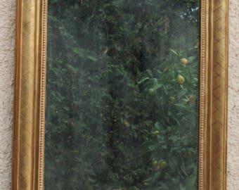 Antique mirror, old French Louis Philippe mirror, golden mirror