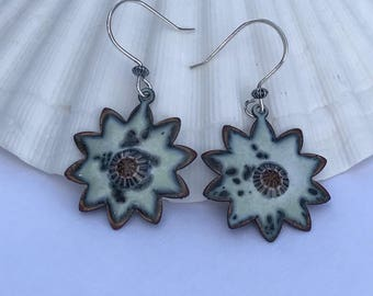 Rustic light green with murrini  glass focal  enamel copper earrings with Artisan sterling silver ear wires