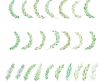 Watercolor Clipart Set - Wreath Clipart - Woodland Clipart - Boho Clipart - Rustic Clipart - Greenery Clipart - Instant Download