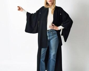 Black Silk Kamon Kimono Vintage Full Length Kimono with Family Crests XS S M L XL