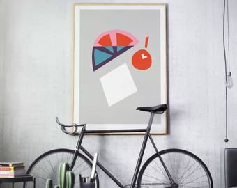 Retro Minimal Fruit Print, Dining Room Decor, Home Sweet Apartment, Gallery Wall Decor, Modern Wall Art, Gift for Her, Him, Under 20
