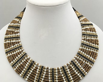 Gold, White and Black Multi Strand Necklace / Multi Strand Bib Necklace.
