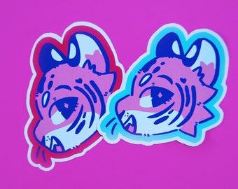 Large Pink Tiger Vinyl Sticker