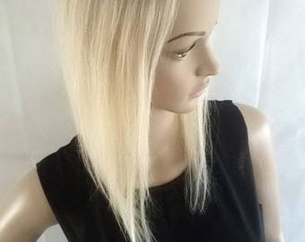 Human hair topper, lightest blonde with dark roots, 4x4 inch lace base, 15inches long, clip in, wig, closure
